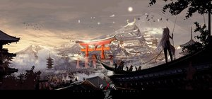 Rating: Safe Score: 86 Tags: animal_ears building city clouds foxgirl gray_hair hagurumadaze landscape long_hair original scenic sky tail torii tree User: BattlequeenYume