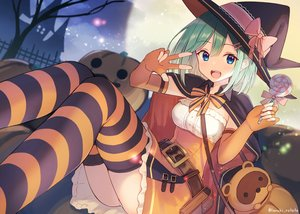 Rating: Safe Score: 52 Tags: animal blue_eyes blush bow candy cape clouds dress elbow_gloves gloves green_hair halloween hat lollipop moon night original pumpkin shirai_tanuki short_hair signed thighhighs tree witch_hat User: RyuZU