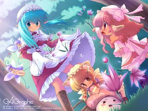 Rating: Safe Score: 59 Tags: animal_ears aqua_eyes aqua_hair blonde_hair boots braids dress fairy flowers gagraphic grass logo loli long_hair ninoko nude pink_hair pointed_ears red_eyes sky tree watermark wings yellow_eyes User: birdy73