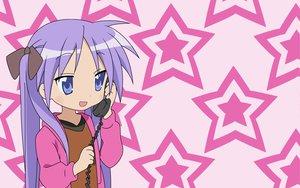 Rating: Safe Score: 4 Tags: hiiragi_kagami lucky_star phone purple_eyes purple_hair stars twintails User: Oyashiro-sama