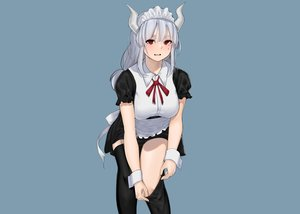Rating: Safe Score: 80 Tags: apron blue blush demon dress dressing gray_hair headdress helltaker horns long_hair lubban lucifer_(helltaker) maid red_eyes thighhighs third-party_edit wristwear User: otaku_emmy