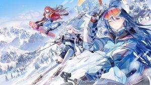 Rating: Safe Score: 45 Tags: blue_hair gloves junpaku_karen landscape long_hair red_hair scenic sky tree white_hair wink winter User: BattlequeenYume
