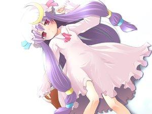 Rating: Safe Score: 10 Tags: book dress hat long_hair patchouli_knowledge purple_hair red_eyes ribbons touhou white User: Oyashiro-sama