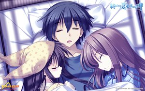 Rating: Safe Score: 40 Tags: himukai_kyousuke long_hair owarinaki_natsu_towa_naru_shirabe pajamas sleeping takanashi_mio User: oranganeh