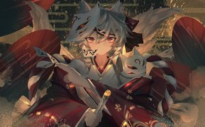 Rating: Safe Score: 41 Tags: animal_ears foxgirl gray_hair katana mask ofuda original qtian red_eyes short_hair sword tail umbrella weapon User: RyuZU