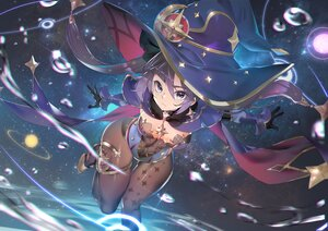 Rating: Safe Score: 101 Tags: cape genshin_impact gloves hat khanshin leotard long_hair mona_(genshin_impact) no_bra pantyhose planet purple_hair stars twintails water witch_hat User: BattlequeenYume