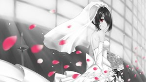 Rating: Safe Score: 61 Tags: bicolored_eyes black_hair blush bow breasts date_a_live dress elbow_gloves flowers gloves petals short_hair tokisaki_kurumi wedding_attire z1npool User: RyuZU