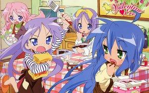 Rating: Safe Score: 104 Tags: blue_hair food glasses green_eyes hiiragi_kagami hiiragi_tsukasa izumi_konata lucky_star pink_hair purple_hair takara_miyuki valentine User: pantu