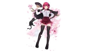 Rating: Safe Score: 118 Tags: animal breasts cait cape cat fan flowers petals red_eyes red_hair skirt thighhighs zettai_ryouiki User: luckyluna