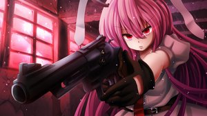 Rating: Safe Score: 153 Tags: animal_ears bunny_ears bunnygirl gloves gun pink_hair red_eyes reisen_udongein_inaba t.m_(aqua6233) touhou weapon User: FormX