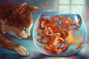 Rating: Safe Score: 184 Tags: animal cat fish mermaid orange_hair original qinni watermark User: FormX