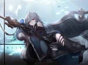 Rating: Safe Score: 35 Tags: animal arknights couch elbow_gloves fish gloves gray_hair ku99_(kugugu) long_hair red_eyes shorts signed skadi_(arknights) water weapon User: BattlequeenYume