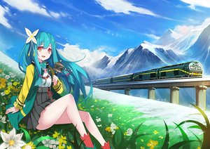 Rating: Safe Score: 108 Tags: aqua_hair clouds flowers long_hair orange_eyes original skirt socks train zhuxiao517 User: Flandre93