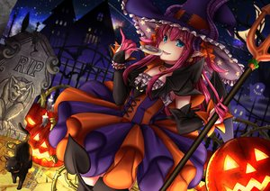 Rating: Safe Score: 41 Tags: animal aqua_eyes blush bow candy cat demon elizabeth_bathory_(fate) fate/grand_order fate_(series) halloween hat horns lollipop long_hair moon night pumpkin purple_hair saruei sky stars tail watermark weapon wings witch_hat User: RyuZU