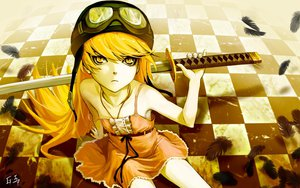 Rating: Safe Score: 247 Tags: as109 bakemonogatari blonde_hair dress feathers goggles hat katana long_hair monogatari_(series) oshino_shinobu summer_dress sword weapon yellow yellow_eyes User: HawthorneKitty