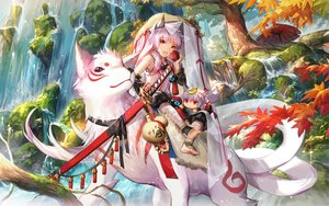 Rating: Safe Score: 49 Tags: all_male animal animal_ears apple autumn bandage barefoot elsword food fruit long_hair male pink_hair red_eyes scenic scorpion5050 short_hair sword tagme_(character) tail tree umbrella water weapon wolf User: RyuZU