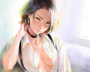 Rating: Safe Score: 166 Tags: black_hair breasts choker cropped green_eyes nababa no_bra open_shirt original realistic shirt short_hair User: mattiasc02