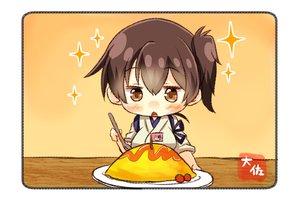 Rating: Safe Score: 26 Tags: anthropomorphism blush brown_eyes brown_hair cherry chibi food fruit japanese_clothes kaga_(kancolle) kantai_collection short_hair taisa_(kari) User: RyuZU