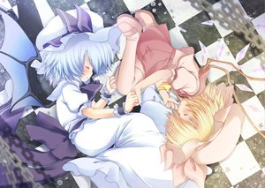 Rating: Safe Score: 42 Tags: 2girls blonde_hair blue_hair blush dress flandre_scarlet fujisaki_hikari hat remilia_scarlet ribbons short_hair skirt sleeping touhou vampire wings User: Tensa