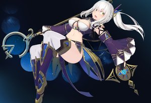 Rating: Safe Score: 65 Tags: boots breasts cleavage cropped gloves gradient long_hair natori_youkai navel original ponytail staff stars thighhighs white_hair yellow_eyes User: otaku_emmy