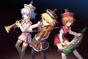 Rating: Safe Score: 101 Tags: athrun1120 blonde_hair blue_eyes blue_hair brown_eyes brown_hair hat instrument lunasa_prismriver lyrica_prismriver merlin_prismriver piano short_hair skirt thighhighs touhou violin User: Wiresetc