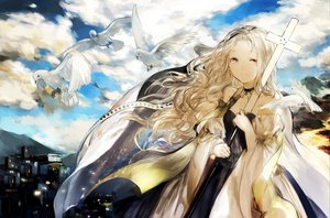 Rating: Safe Score: 115 Tags: animal bird blonde_hair choker clouds dress long_hair moemoe3345 original sky User: w7382001
