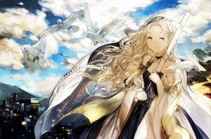 Rating: Safe Score: 115 Tags: animal bird blonde_hair choker clouds dress long_hair moemoe3345 original sky User: w7382001