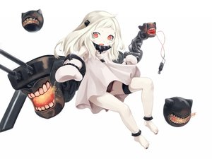 Rating: Safe Score: 97 Tags: a_arrow_z anthropomorphism gloves kantai_collection loli northern_ocean_hime red_eyes underwear white white_hair User: FormX