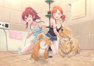 Rating: Safe Score: 45 Tags: 2girls animal arigato_(rmskrtkdlqj) arisugawa_natsuha bath bathtub breasts cleavage dog idolmaster idolmaster_shiny_colors komiya_kaho orange_hair red_eyes red_hair shirt shorts wet wink User: mattiasc02