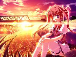 Rating: Safe Score: 33 Tags: asakura_nanao game_cg lyrical_lyric marmalade mikeou purple_hair skirt sunset thighhighs twintails User: 秀悟