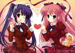 Rating: Safe Score: 134 Tags: 2girls long_hair mitha pink_hair purple_hair scan school_uniform valentine wink User: Wiresetc