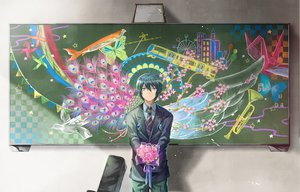 Rating: Safe Score: 110 Tags: all_male animal blue_hair brown_eyes butterfly fish flowers hayama_eishi male original suit tie User: Maboroshi