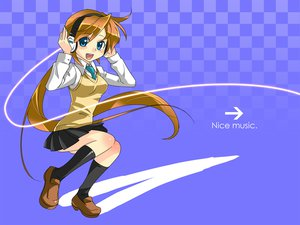 Rating: Safe Score: 13 Tags: blue blue_eyes brown_hair caffein headphones kneehighs long_hair original ponytail school_uniform skirt tie User: Kumacuda