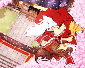 Rating: Safe Score: 23 Tags: barefoot brown_hair cherry_blossoms flowers hakurei_reimu haruyonoto japanese_clothes long_hair miko petals ponytail torii touhou User: w7382001