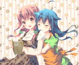 Rating: Safe Score: 67 Tags: 2girls aliasing apron blue_hair blush book bow braids breasts dress hinako_note hug long_hair march-bunny natsukawa_kuina sakuragi_hinako twintails User: RyuZU