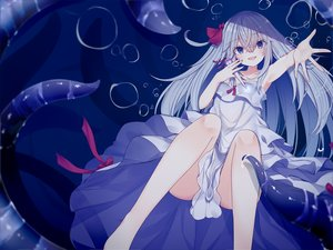 Rating: Safe Score: 59 Tags: blue_eyes bubbles dress gray_hair kafuka long_hair original summer_dress tentacles underwater water User: RyuZU