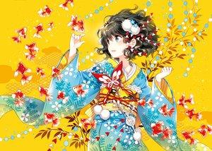 Rating: Safe Score: 121 Tags: animal black_eyes black_hair fish japanese_clothes kimono nardack original short_hair User: Flandre93
