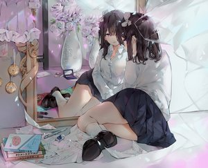 Rating: Safe Score: 73 Tags: book flowers hmw_(pixiv7054584) mirror original paper reflection rose school_uniform User: BattlequeenYume