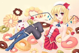 Rating: Safe Score: 86 Tags: blonde_hair boots bunny fd92 flandre_scarlet food hat red_eyes thighhighs touhou vampire wings User: Flandre93
