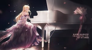 Rating: Safe Score: 58 Tags: akamatsu_kaede blonde_hair bow cherry_blossoms dangan-ronpa dress elbow_gloves flowers gloves instrument long_hair new_dangan-ronpa_v3 piano pink_eyes uwro watermark User: BattlequeenYume