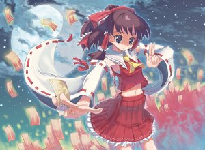 Rating: Safe Score: 17 Tags: aliasing blue_eyes brown_hair hakurei_reimu japanese_clothes miko moon naox navel ofuda short_hair sky touhou User: RyuZU