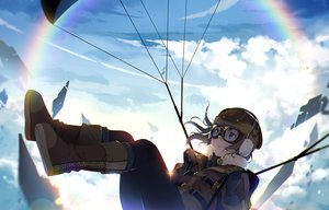 Rating: Safe Score: 29 Tags: blue_eyes boots brown_hair clouds earmuffs gloves goggles hmniao original rainbow short_hair sky User: RyuZU