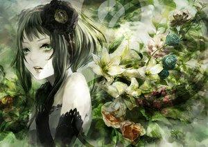 Rating: Safe Score: 75 Tags: elbow_gloves flowers gloves green green_eyes green_hair gumi kunimura_hakushi short_hair tears vocaloid waifu2x User: FormX