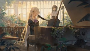 Rating: Safe Score: 28 Tags: brown_hair dress instrument ji_dao_ji long_hair microphone noir_(noworld) noworld_official piano stairs teddy_bear white_hair User: BattlequeenYume