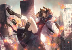 Rating: Safe Score: 94 Tags: angelina_(arknights) animal_ears arknights brown_hair building city fire gloves kneehighs long_hair red_eyes shirataki_jiro shorts tail twintails weapon User: BattlequeenYume