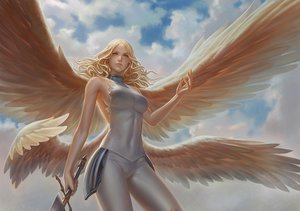 Rating: Safe Score: 226 Tags: blonde_hair claymore clouds leo_chuang long_hair realistic sideboob sky sword teresa weapon wings yellow_eyes User: Flandre93