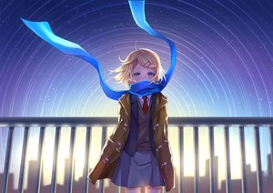Rating: Safe Score: 93 Tags: aqua_eyes blonde_hair building city earmuffs kagamine_rin mikmix scarf school_uniform short_hair silhouette skirt sky stars tie vocaloid User: otaku_emmy