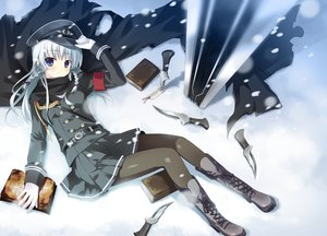 Rating: Safe Score: 47 Tags: blue_eyes book braids cape ex-one gray_hair hat knife long_hair migiwa_fuyu pantyhose skirt snow takashina_masato tsukiakari_lunch uniform weapon User: sadodere-chan