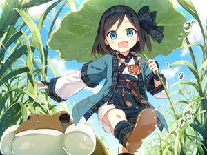 Rating: Safe Score: 54 Tags: animal aqua_eyes ayakashi_kyoushuutan black_hair clouds cura frog grass headband loli necklace palopolo short_hair sky water User: Nepcoheart