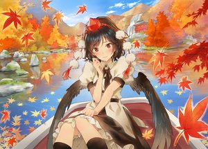 Rating: Safe Score: 80 Tags: autumn black_hair blush boat dress hat kneehighs landscape leaves matsuda_(matsukichi) red_eyes reflection scenic shameimaru_aya short_hair touhou water waterfall wings User: luckyluna